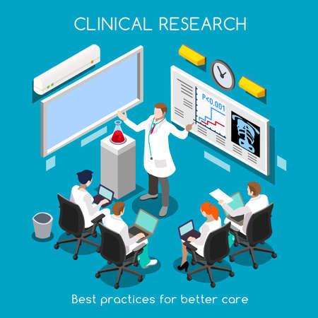 醫療保健: 臨床研究的醫院最佳實踐。醫學研究和臨床試驗轉化階段的研究。醫務人員培訓。調查員會議。新亮點調色板3D平面矢量人物 向量圖像