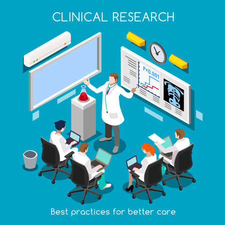 health care research: Clinical Research as Hospital Best Practice. Medical Researcher and Clinical Trials Translational Phase Study. Medical Staff Training. Investigator Meeting. NEW bright palette 3D Flat Vector People