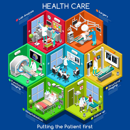Clinical Trials and Healthcare. Hospital Departments with People NEW bright palette 3D Flat Vector Icon Set. Rooms with Patients Doctors Nurses Scrubs Staff Support Workers. Putting the Patient 1ST Иллюстрация