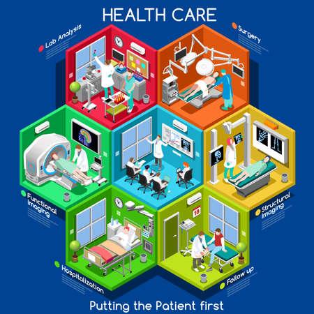 Studi clinici e Sanità. Dipartimenti ospedalieri Con persone, Nuova tavolozza brillante 3D piatto Vector Icon Set. Camere con Pazienti Medici infermieri Scrubs personale di supporto Lavoratori. Mettere il 1 ° paziente
