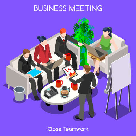 unrecognizable: Startup Teamwork Brainstorming Office Meeting Room. Interacting People Unique Isometric Realistic Poses Illustration