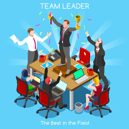 team leader: Startup Teamwork Team Leader Office Meeting Room Illustration