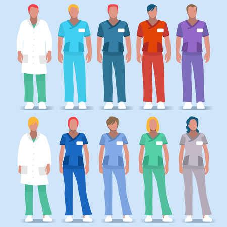 수술 용 간호사 및 의사 유니폼 일러스트