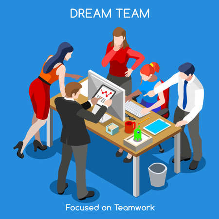 illustration people: Startup Teamwork Brainstorming Office Meeting Room