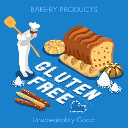 home products: Mixed Types of Gluten Free Fragrant Bread. Flat 3d Isometric Colorful Concept of Fresh Bakery Products. Simply Delicious Taste of Home