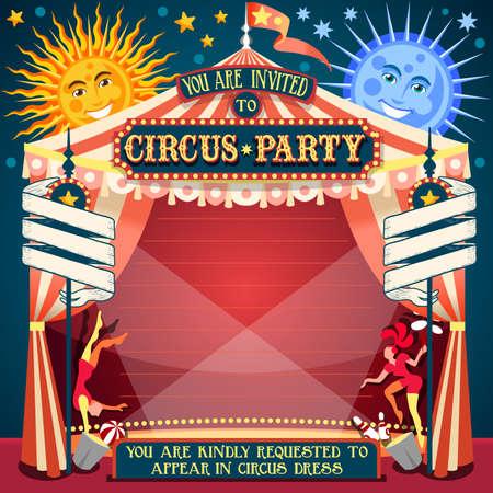 carnaval: Tale of Tales Vous �tes invit�s � la Cour des Miracles. Carnaval de cirque color� Retro Vintage template pour votre Happy Party Fou Illustration