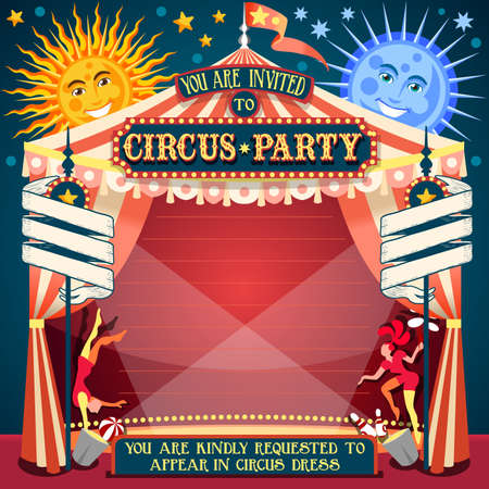 cartoon circus: Tale of Tales You are Invited to The Court of Miracles. Circus Carnival Colorful Retro Vintage Template for your Happy Crazy Party