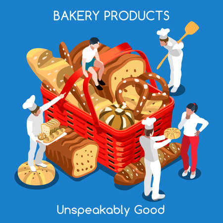 food basket: Mixed Types of Fragrant Bread in a Flat 3d Isometric Food Basket of Gorgeous Bakery Products