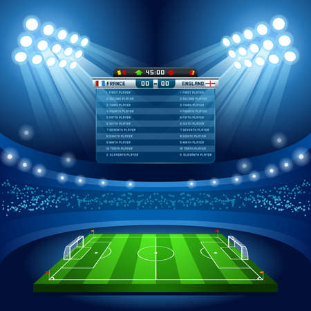 Football Stadium Empty Field Background Nocturnal View 版權商用圖片 - 47073243