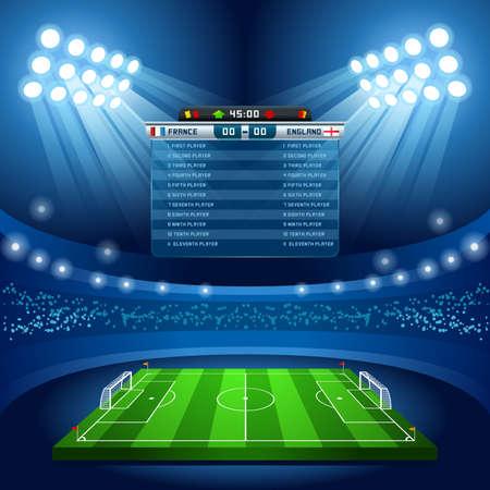 Football Stadium pustym polu Tło Nocturnal Zobacz Ilustracje wektorowe