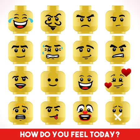 Collezione di blocchi giocattoli di diversi volti emoji Archivio Fotografico - 47073250