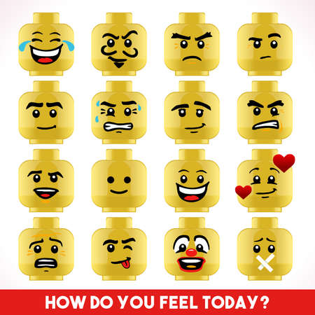 Toy Block Collection of Different Emoji Faces Иллюстрация