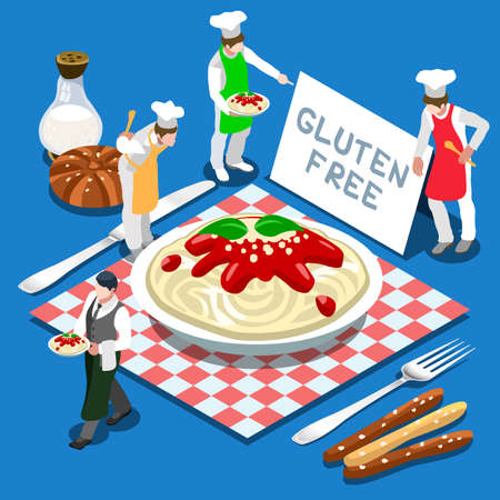 gluten: Gluten Free Plate of Pasta Italian Recipe Illustration