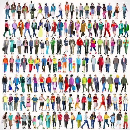 Conjunto grande de personas multiétnicas urbanas. Conjunto de iconos planos coloridos de personajes femeninos y masculinos caminando aislados Ilustración de vector