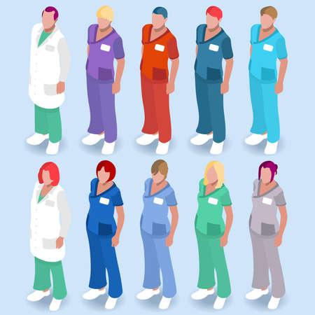 pielęgniarki: Scrubs Pielęgniarstwa i lekarz Uniformy Ilustracja