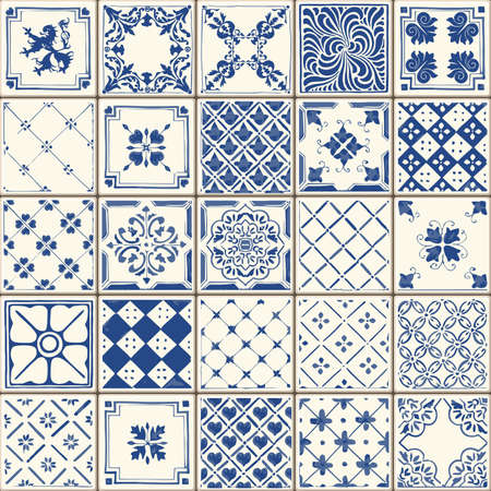color illustration: Indigo Blue Tiles Floor Ornament Collection