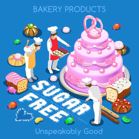 slice: Mixed Types of Sugar Free Delicious Sweets Illustration