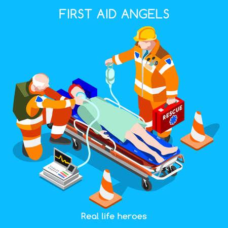 hospital caricatura: Departamento de Cuidados Intensivos de Ayuda de Emergencia First Medical Vectores