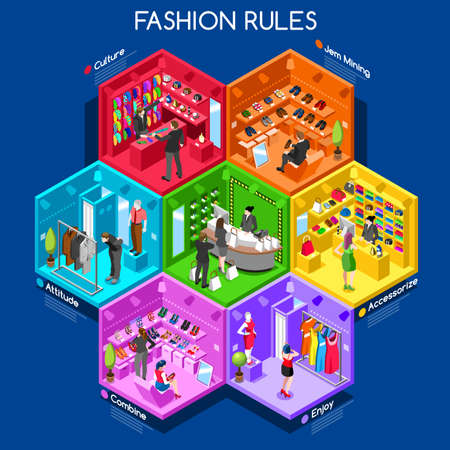 Abstracte Fashion Outlet Afdelingen Stock Illustratie