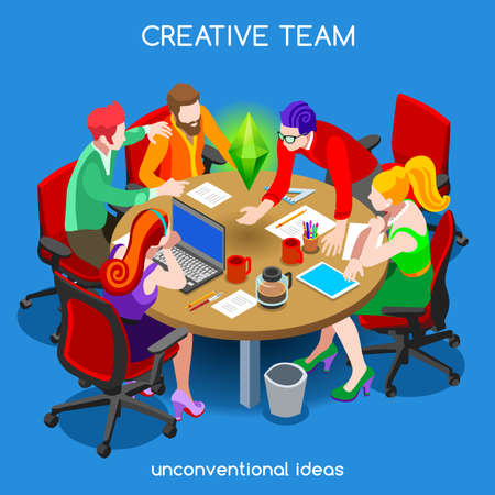 teamwork cartoon: Startup Creative Teamwork Brainstorming Meeting