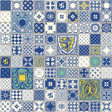 인디고 블루 타일 바닥 장식 컬렉션