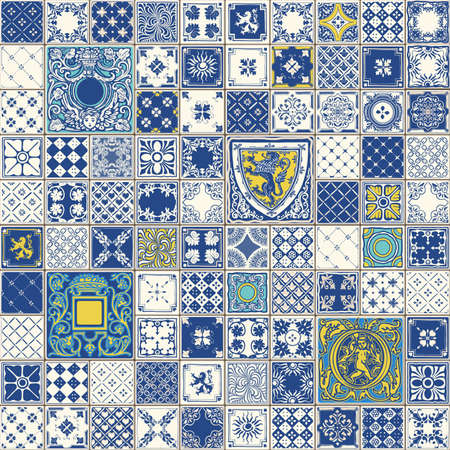 Indigo Blue Tegels Floor Ornament Collection