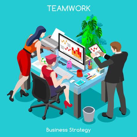 teamwork cartoon: Startup Teamwork Brainstorming Office Meeting Room