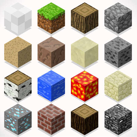 flat iron: 3D Flat Isometric Mine Cubes HD Starter Kit Ground Water Iron Coal Grass Rock Iron Lava Sand Wood Stone Elements Icon Mega Set Collection for Builder Craft. Build Your Own World Illustration