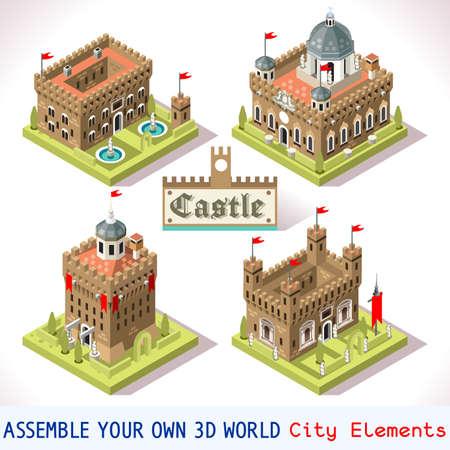 castillo medieval: Azulejos medievales para Game Insight Online Estrat�gico y Desarrollo. 3D isom�trico plana Medio Castillo Edad con Banderas Towers. Explora Juego Fen�menos en la Atm�sfera Edad Media antiguo de Florencia Vectores