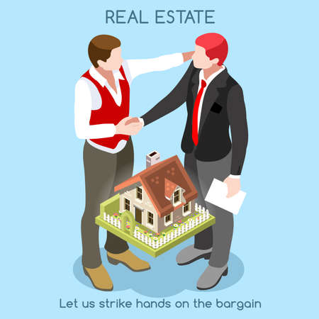 real people: Vector real estate concept 3D flat style. Interacting People Unique Isometric Realistic Poses. NEW bright palette.  Illustration