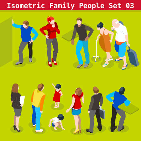 young family: Flat style family Set. Young and Adult People in casual clothes. Vector elements for impressive Infographics. 3D Isometric Men and women in realistic poses Illustration