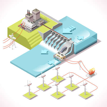 dike: Hybrid Power Systems Hydroelectric Plant and Windmill Factory. Isometric Electric Power Station Electricity Grid and Energy Supply Chain. Energy Management Diagram 3d Vector Illustration