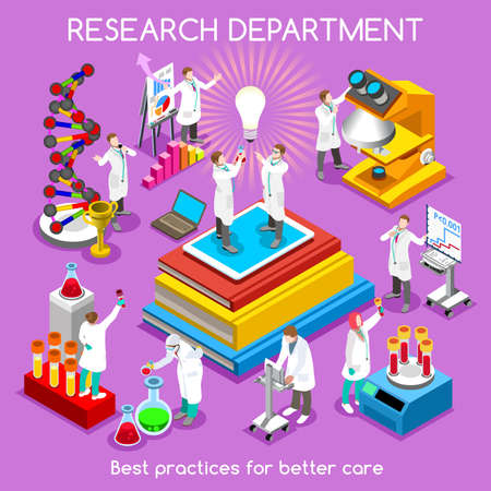 Physical and Life Sciences Concept. Pharmaceutical Research Phase Trials. Set of Conceptual Research Symbols. NEW bright palette 3D Flat Vector People. Infographic Template for Presentation Insight Ilustração