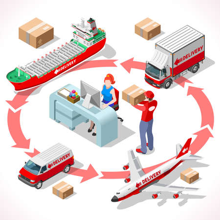 Worldwide Express Delivery Concept. NEW bright palette 3D Flat Vector Icon Set. Complete collection of vehicle fleet truck ship airplane of delivery chain