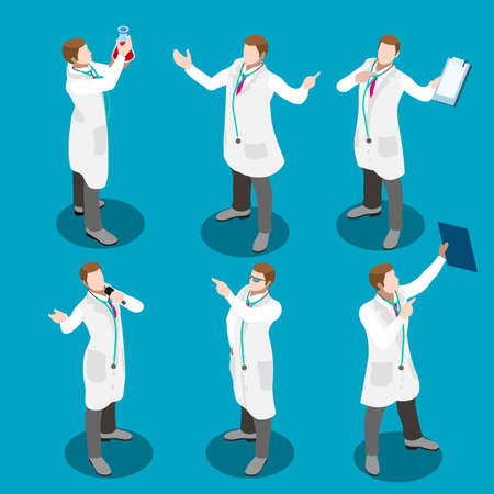 physician: Healthcare medical staff gestures and poses. Doctor at work flat 3d isometric icon set. Elements for web infographics vector illustration. Physician professional conceptual collection