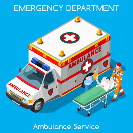 at first: Clinic Emergency Department Ambulance Service. First Aid and Hospitalization Set. Adult Patient on Stretcher carried by Hospital Staff. NEW bright palette 3D Flat Vector People
