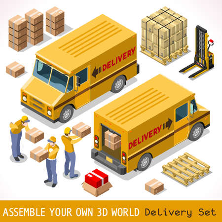 at yellow: Delivery Service Chain Elements Collection. NEW bright palette 3D Flat Vector Icon Set. Yellow box pakage worldwide shipping  carried by Courier man of Postal Service Yellow Van. Express home delivery
