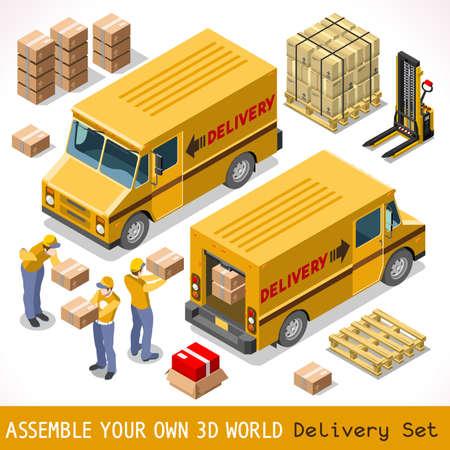 transport: Delivery Service Chain Elements Collection. NEW ljus palett 3D Flat Vector ikoner. Gul ruta pakage världsomspännande sändnings bärs av Courier man Postal Service gul Van. Express hemleverans