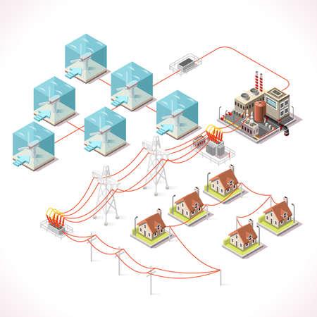 수중 터빈 전기. 아이소 메트릭 풍차 농장 발전소 공장 전기 발전소 전기 그리드 및 에너지 공급망. 에너지 관리 다이어그램 3 차원 벡터 일러스트 레이