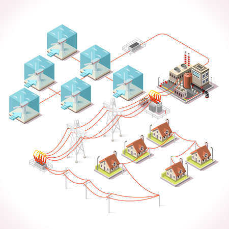 power distribution: Underwater Turbine Electricity. Isometric Windmill Farms Power Plant Factory Electric Power Station Electricity Grid and Energy Supply Chain. Energy Management Diagram 3d Vector Illustration