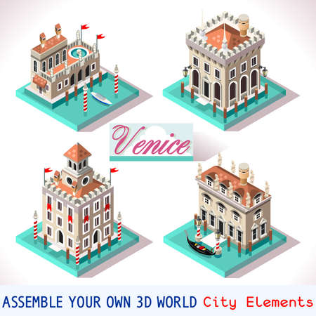 phenomena: Venice Palace Tiles for Online Strategic Game Insight and Development. Isometric Flat 3D Buildings. Explore Game Phenomena in the Romantic Antique Atmosphere