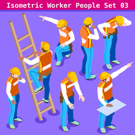 Construction Worker Collection. Blue Collar Male People in Unique Isometric Realistic Poses. NEW bright palette 3D Flat Vector Icon Set. Assemble your Own 3D World 向量圖像
