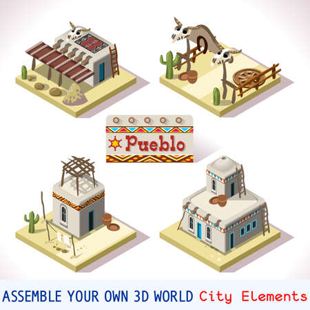 pueblo: Isometric Western Rural Pueblo Basic Set Tiles Mexican Buildings. 3D Flat Vector Icon Set. Rural Building Isolated Vector Collection. Assemble Your Own 3D World