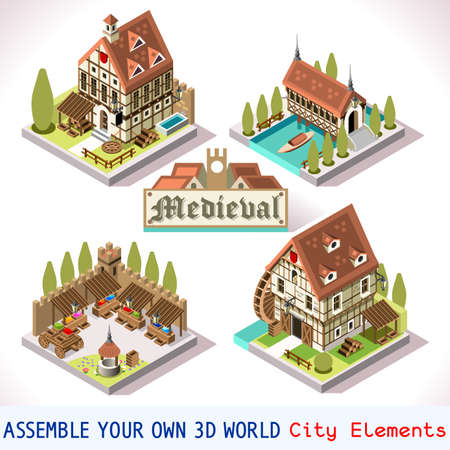 Medieval Tiles for Online Strategic Game Insight and Development. Isometric Flat Middle Age Court with 3D Buildings and Mill. Explore Game Phenomena in the Middle Ages Antique Breton Atmosphere
