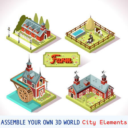 assemble: City Map Tiles Farm Elements Set. NEW bright palette 3D Flat Vector Icon Set. Rural Building Isolated Vector Collection. Assemble Your Own 3D World