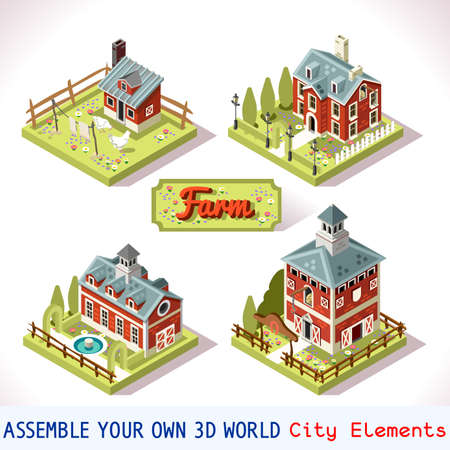 map toolkit: City Map Tiles Farm Elements Set. NEW bright palette 3D Flat Vector Icon Set. Rural Building Isolated Vector Collection. Assemble Your Own 3D World