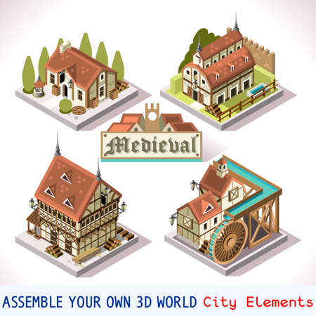 breton: Medieval Tiles for Online Strategic Game Insight and Development. Isometric Flat Middle Age Court with 3D Buildings and Mill. Explore Game Phenomena in the Middle Ages Antique Breton Atmosphere