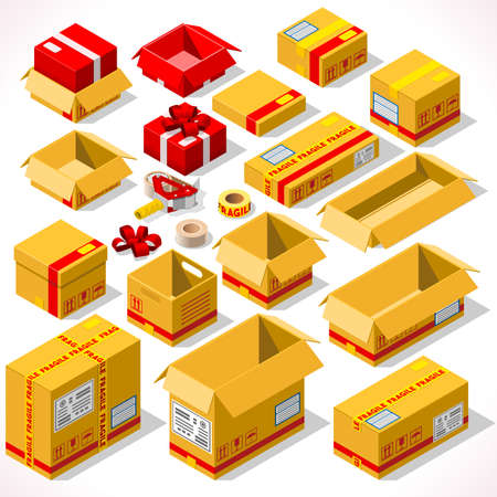 big boxes: Cardboard Boxes Set opened closed sealed with tape dispenser big or small format. Flat style vector illustration isolated on white background. Delivery Infographic for holiday gift Illustration