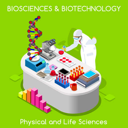 sciences: Healthcare Laboratory Biosciences and Biotechnology. Hospital Lab Departments DNA Bank Nanotechnology Microbiology Staff. NEW bright palette 3D Flat Vector People. Physical and Life Sciences