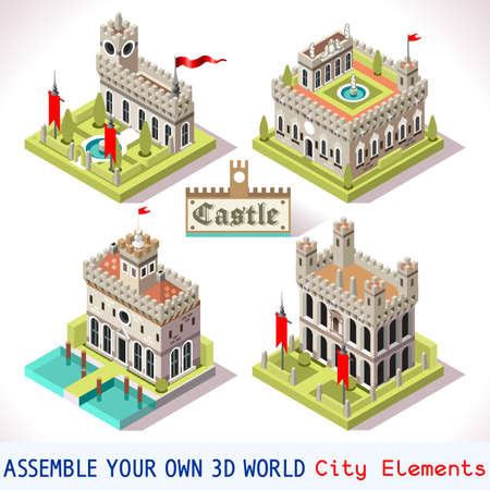 castle tower: Medieval Tiles for Online Strategic Game Insight and Development. Isometric 3D Flat Middle Age Castle with Towers and Flags. Explore Game Phenomena in the Middle Ages Antique Florence Atmosphere